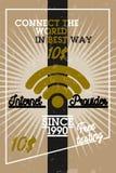 Color vintage internet provider banner Stock Photo