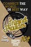 Color vintage internet provider banner Royalty Free Stock Photos