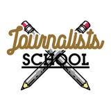 Color vintage journalists school emblem Royalty Free Stock Image