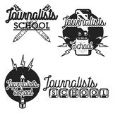 Color vintage journalists school emblems Stock Images