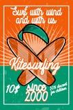Color vintage kitesurfing banner Stock Image