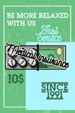 Color vintage medical insurance banner Royalty Free Stock Images