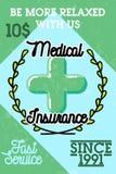 Color vintage medical insurance banner Stock Image