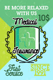 Color vintage medical insurance banner Stock Images