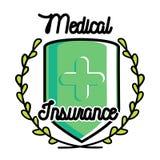 Color vintage medical insurance emblem Royalty Free Stock Photography