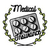 Color vintage medical insurance emblem Stock Photos