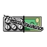 Color vintage medical insurance emblem Stock Photography