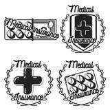 Color vintage medical insurance emblems Royalty Free Stock Photos