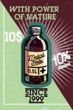 Color vintage medical plants herbs banner Stock Images