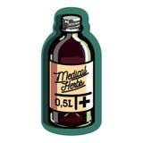 Color vintage medical plants herbs emblem Stock Image