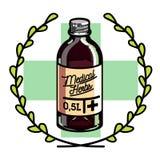 Color vintage medical plants herbs emblem Royalty Free Stock Images