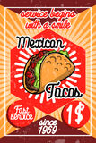 Color vintage mexican food poster Stock Photos