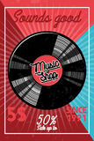 Color vintage music shop banner. For use music store, record studio, sound technology etc. Vector Illustration stock illustration