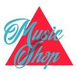 Color vintage music shop emblem. For Music shop, recording studio, karaoke club. Design elements isolated on white background Stock Photo