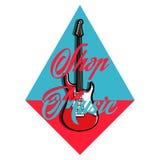 Color vintage music shop emblem. For Music shop, recording studio, karaoke club. Design elements isolated on white background Stock Photography