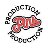 Color vintage pins production emblem Stock Images