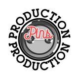 Color vintage pins production emblem Stock Photography