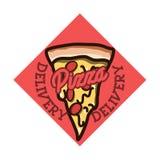 Color vintage pizza delivery emblem Royalty Free Stock Photo