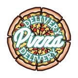 Color vintage pizza delivery emblem Stock Image