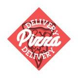 Color vintage pizza delivery emblem Royalty Free Stock Image