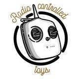 Color vintage radio controlled toys emblem Stock Images