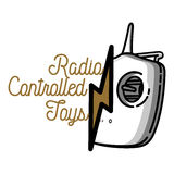 Color vintage radio controlled toys emblem Stock Photography
