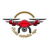 Color vintage radio controlled toys emblem Stock Image