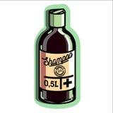 Color vintage remedy for baldness emblem Royalty Free Stock Image