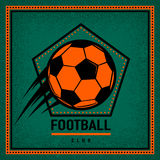 Color vintage and retro logo badge, label football club template with flying soccer ball. Stock Images