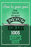 Color vintage rowing banner. Sport Infographic Canoe Kayak Paddler olympics Vector Illustration Royalty Free Stock Image