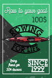 Color vintage rowing banner. Sport Infographic Canoe Kayak Paddler olympics Vector Illustration Royalty Free Stock Photo