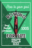 Color vintage rowing banner Royalty Free Stock Images