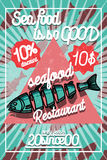 Color vintage seafood restaurant poster Stock Photo