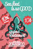 Color vintage seafood restaurant poster. Vector illustration, EPS 10 Royalty Free Stock Photos