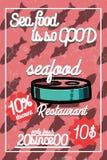 Color vintage seafood restaurant poster. Vector illustration, EPS 10 Stock Image