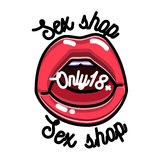 Color vintage sex shop emblem Royalty Free Stock Photography