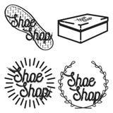 Color vintage shoe shop emblems Royalty Free Stock Photography