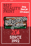 Color vintage silkskreen print banner. Vector illustration, EPS 10 Stock Photography