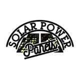 Color vintage solar panels emblem Stock Image
