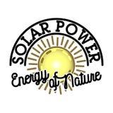 Color vintage solar panels emblem Royalty Free Stock Image