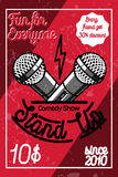 Color vintage Stand up comedy show poster Stock Photo
