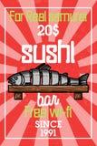 Color vintage sushi bar banner. Sushi Bar. Vector illustration, EPS 10 Royalty Free Stock Photography