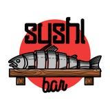 Color vintage sushi bar emblem. Color vintage sushi emblem. Sushi Bar. Vector illustration, EPS 10 Royalty Free Stock Images