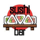 Color vintage sushi bar emblem. Color vintage sushi emblem. Sushi Bar. Vector illustration, EPS 10 Royalty Free Stock Image