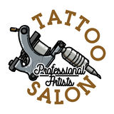 Color vintage tattoo salon emblem. Vector illustration, EPS 10 Stock Photography