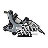 Color vintage tattoo shop emblem. Vector illustration, EPS 10 Stock Photo