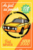 Color vintage taxi poster Stock Photo
