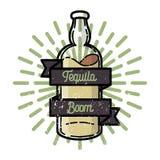 Color vintage tequila emblem Stock Images