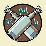 Color vintage tequila emblem Royalty Free Stock Photo