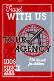 Color vintage tour agency banner. Travel concept Royalty Free Stock Images